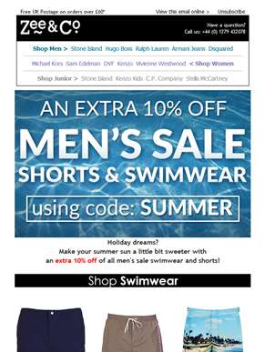 Extra 10% Off Shorts and Swim | Summer Sale Gets Bigger!