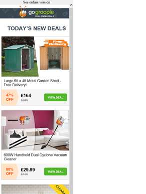 Clearance - New Lines Added! Large Garden Shed £164 inc Delivery | 600W Dual Cyclone Vacuum Cleaner