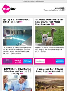 Park Hall Hotel Spa Day for 2 £80 | 1hr Alpaca Experience £14 | CeMAP Level 3 Qualification Course £