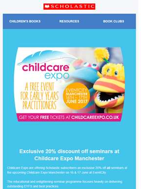 Exclusive to Scholastic subscribers – 20% off seminars at Childcare Expo Manchester