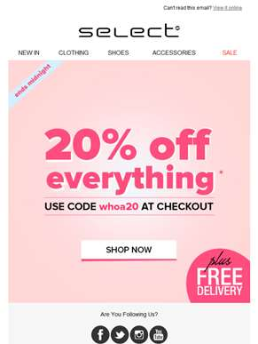 SHOP and give us 20! Get 20% off & free delivery before midnight