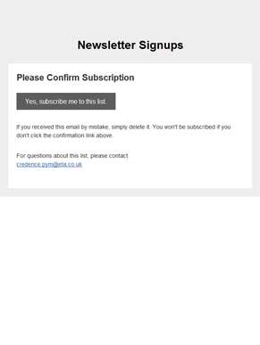 Newsletter Signups: Please Confirm Subscription