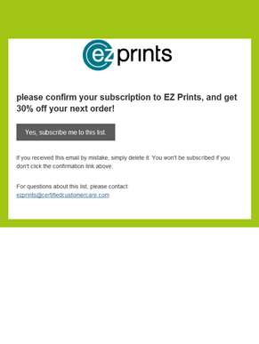 ezprints.com Newsletter: Please Confirm Subscription