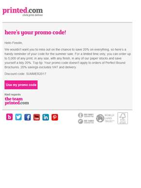 Feedin, your promo code is ready!