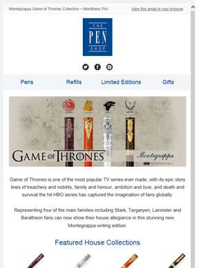 Rally the realm! Game of Thrones + New Montblanc Pix Collections