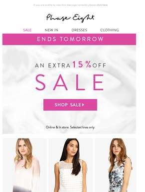 Extra 15% off sale ends tomorrow…