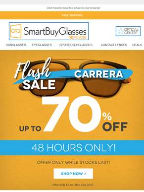 [48 hours only] 70% off Carrera Eyewear FLASH SALE ??