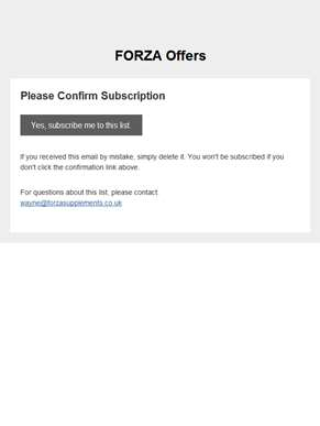 FORZA Offers: Please Confirm Subscription