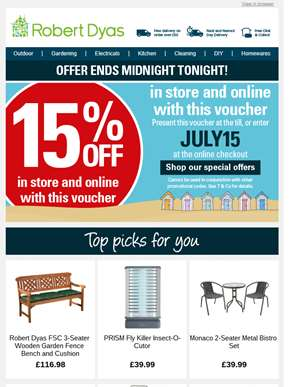 Last chance tonight! 15% off voucher expires at midnight, Last chance tonight! 15% off voucher expir