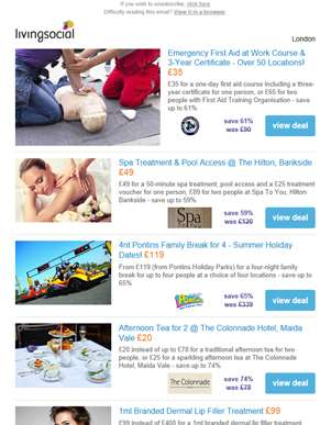 Deals for you: First Aid Course £35 | Treatment & Spa Access @ The Hilton £49 | 4nt Pontins Family B