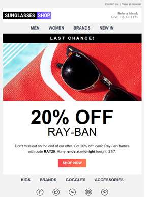 Ends TONIGHT: 20% off Ray-Ban