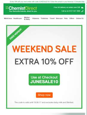 Our best weekend deal - 10% OFF!