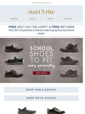 School shoes to fit every personality + 30% off trainers & plimsolls*