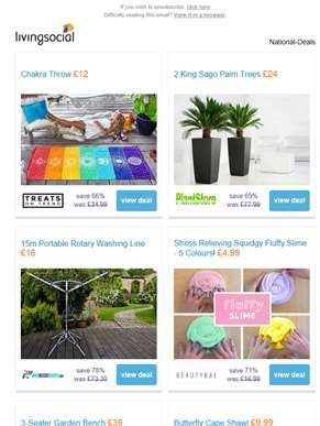 Deals for you: Chakra Throw £12 | King Sago Palm Trees £24 | Portable Rotary Washing Line £16 | Fluf