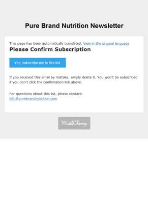Newsletter: Please Confirm Subscription