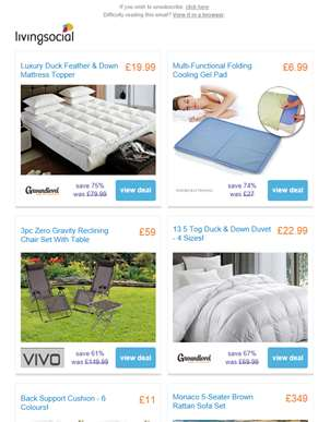 Duck & Down Mattress Topper from £19.99 | Cooling Gel Pad £6.99 | 3pc Reclining Chair Set £59 | 13.5