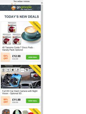 48 Costa Coffee Tassimo Pods £12.99 | Faux Leather Bed NOW £49 | HD Car Dash Cam £11.99