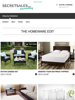 The Homeware Edit: Rattan Garden Furniture, Memory Foam Mattress Toppers and Textured Rugs