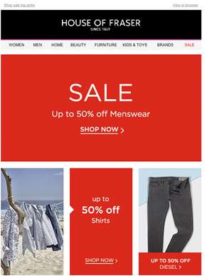 Sale's top offers: up to 50% off Diesel, shoes, shirts and more