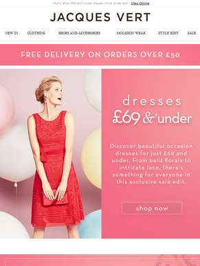 Hurry! shop £69 and under dresses while stocks last!