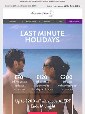 Ends midnight tonight - Up to £200 extra discount off your summer holiday