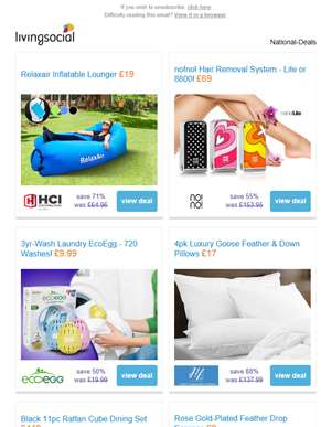 Deals for you: Inflatable Sun Lounger £19 | no!no! Hair Removal £69  | Laundry EcoEgg £9.99 | 4 Goos