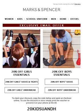 EXCLUSIVE: 20% off kids essentials with code 20KIDSUANDH