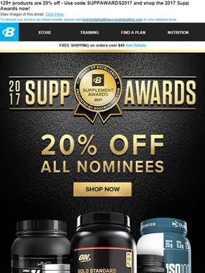 Supp Awards: The 20% Off Celebration!