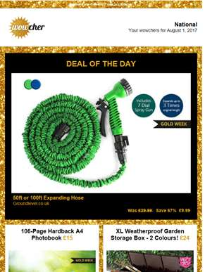 50ft Expanding Garden Hose £9.99 |  | 106-Page A4 Photobook £15 | XL Weatherproof Garden Storage Box
