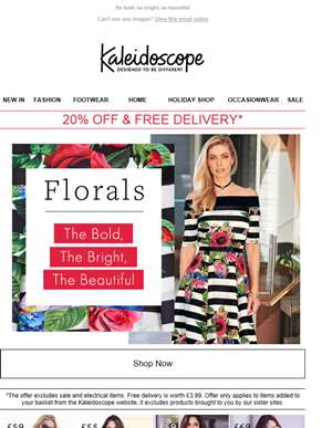 New Season Florals...20% Off & Free Delivery
