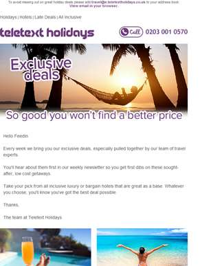 Introducing Teletext Holidays exclusive deals