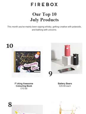 Top 10 Products For July ??