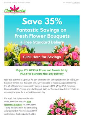 Save 35% on Pink Roses and Freesia & Lilies this Summer with Free Next Day Delivery