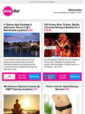 Luxury Spa Day & Afternoon Tea for 2 £99 | VIP Funny Girls Package for 2 £32.95 | Mindfulness Course