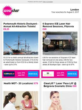 Portsmouth Historic Dockyard £8.25 | 6 Laser Hair Removal Sessions £49 | Health MOT £79 | ClearLift