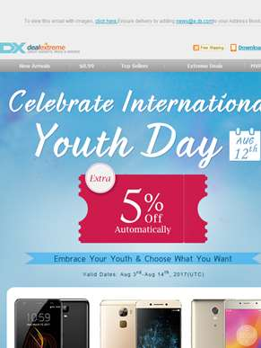 Extra 5% Off for International Youth Day