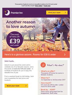 Thousands of rooms for £39 and under. Love autumn? You'll adore our prices…
