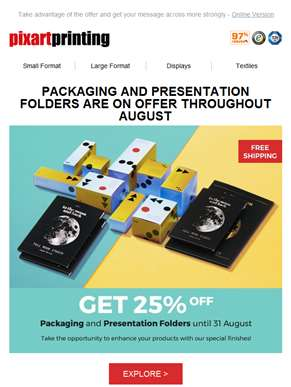 Packaging and Folders on offer until 31 August!