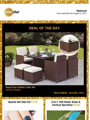 9pc Rattan Furniture Set £279 |  | Quartz Gel Nail Kit £7.99 | 16ft Water Slide with Sprinkler £9.99