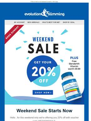 20% Off Plus Free SlenderVit with Every Order This Weekend!