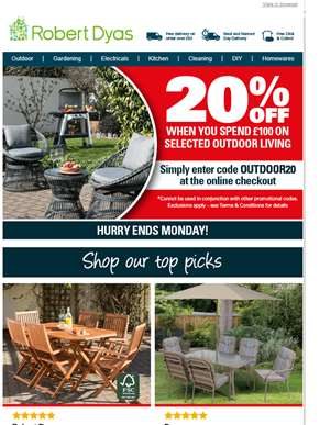 Get 20% off Outdoor Living when you spend £100