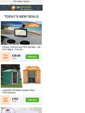 Delivery Included! Sat Nav with UK & EU Maps £29.99 | Large Garden Shed £164 | Luxury Sports Mattres