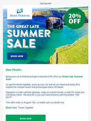 20% off to Ireland - The Great Late Summer Sale!