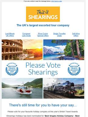 Please Vote for Shearings in the 2017 British Travel Awards & Enter a Free Prize Draw