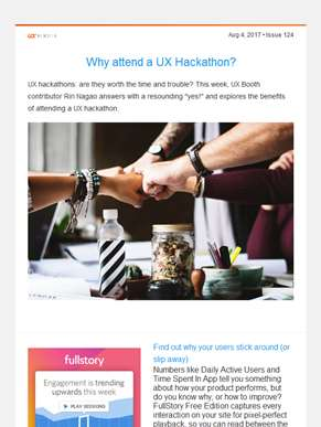 ??  UX Booth Weekly, Issue #124: Why Attend a UX Hackathon?