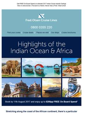 Indian Ocean & Africa Cruises | FREE On Board Spend up to £200pp