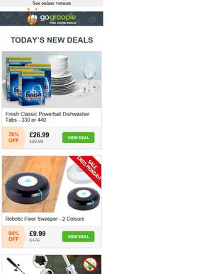 440 Finish Dishwasher Tablets £26.99 | Robot Floor Sweeper £9.99 | 3 Seater Garden Swing £38.99