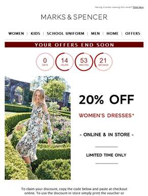 LAST CHANCE: 20% off dresses and selected kidswear