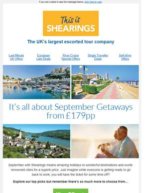 Amazing September Offers from £179pp | 2018 Now On Sale! | Book Now to Save