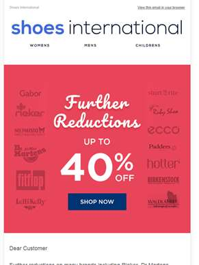 Up to 40% off, further reductions on our summer sale